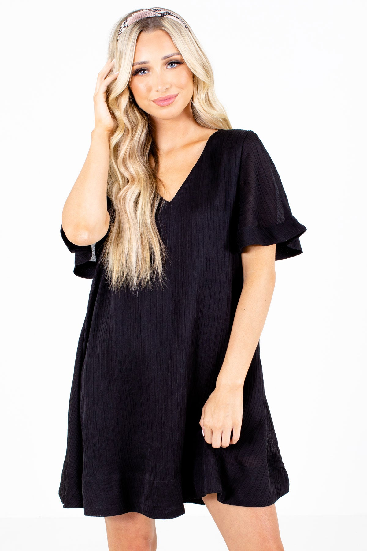 Black Pleated Boutique Mini Dresses for Women