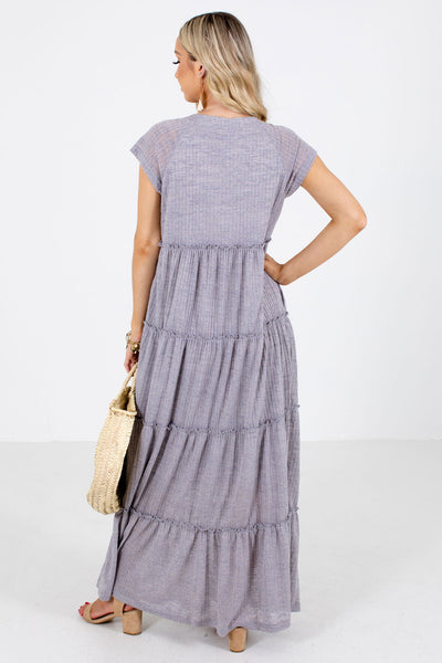 Women's Gray Partially Lined Boutique Maxi Dress