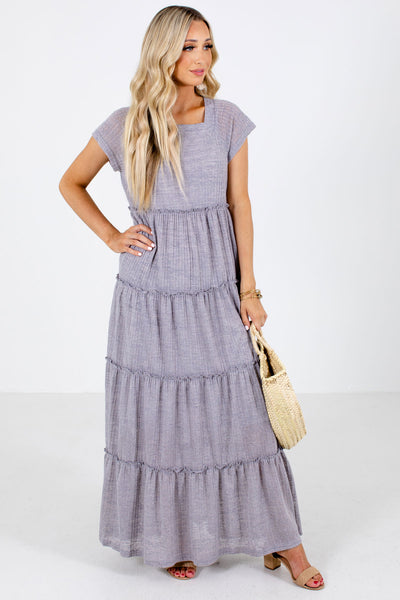 Gray High-Quality Ribbed Material Boutique Maxi Dresses for Women