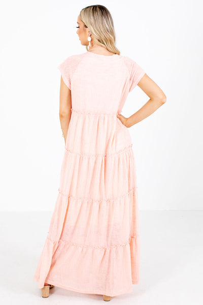 Women's Pink Ruffled Boutique Maxi Dresses