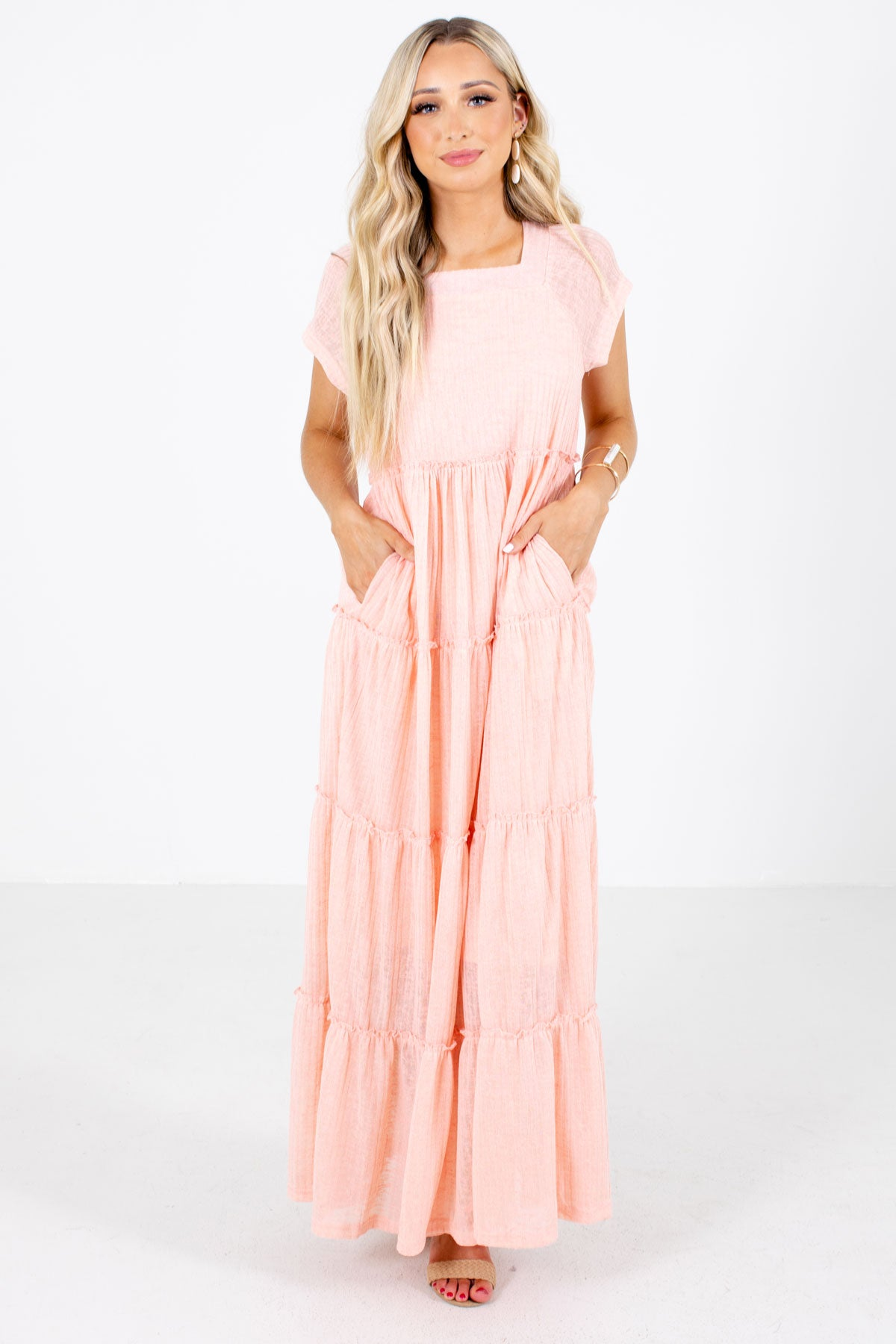 Pink Square Neckline Boutique Maxi Dresses for Women