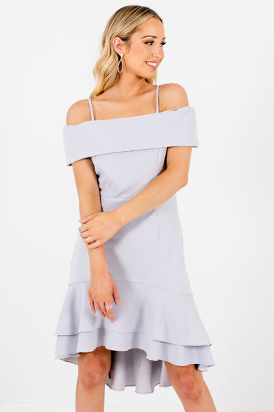 Silver Gray Cold Shoulder Style Boutique Mini Dresses for Women