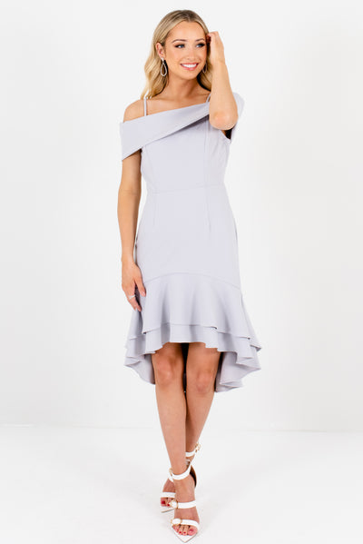 Silver Gray Cute and Comfortable Boutique Mini Dresses for Women