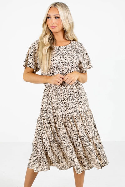 Beige Patterned Boutique Midi Dresses for Women