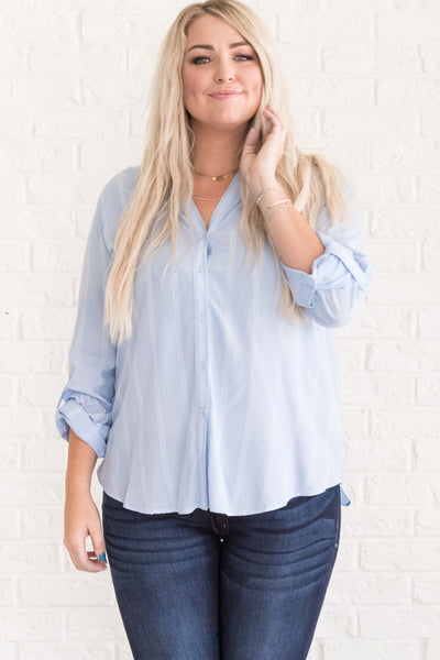 Blue and White Striped Shirts for Women