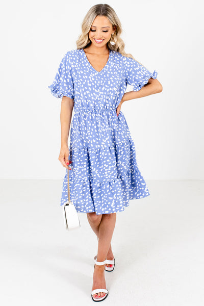 Women's Blue Ruffle Accented Boutique Knee-Length Dress