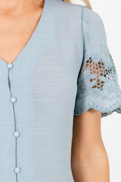 Blue Crochet Embroidered Sleeve Boutique Blouses for Women