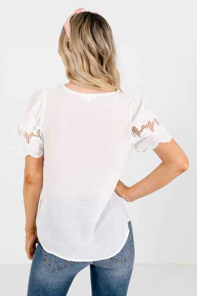 Women's White V-Neckline Boutique Blouse