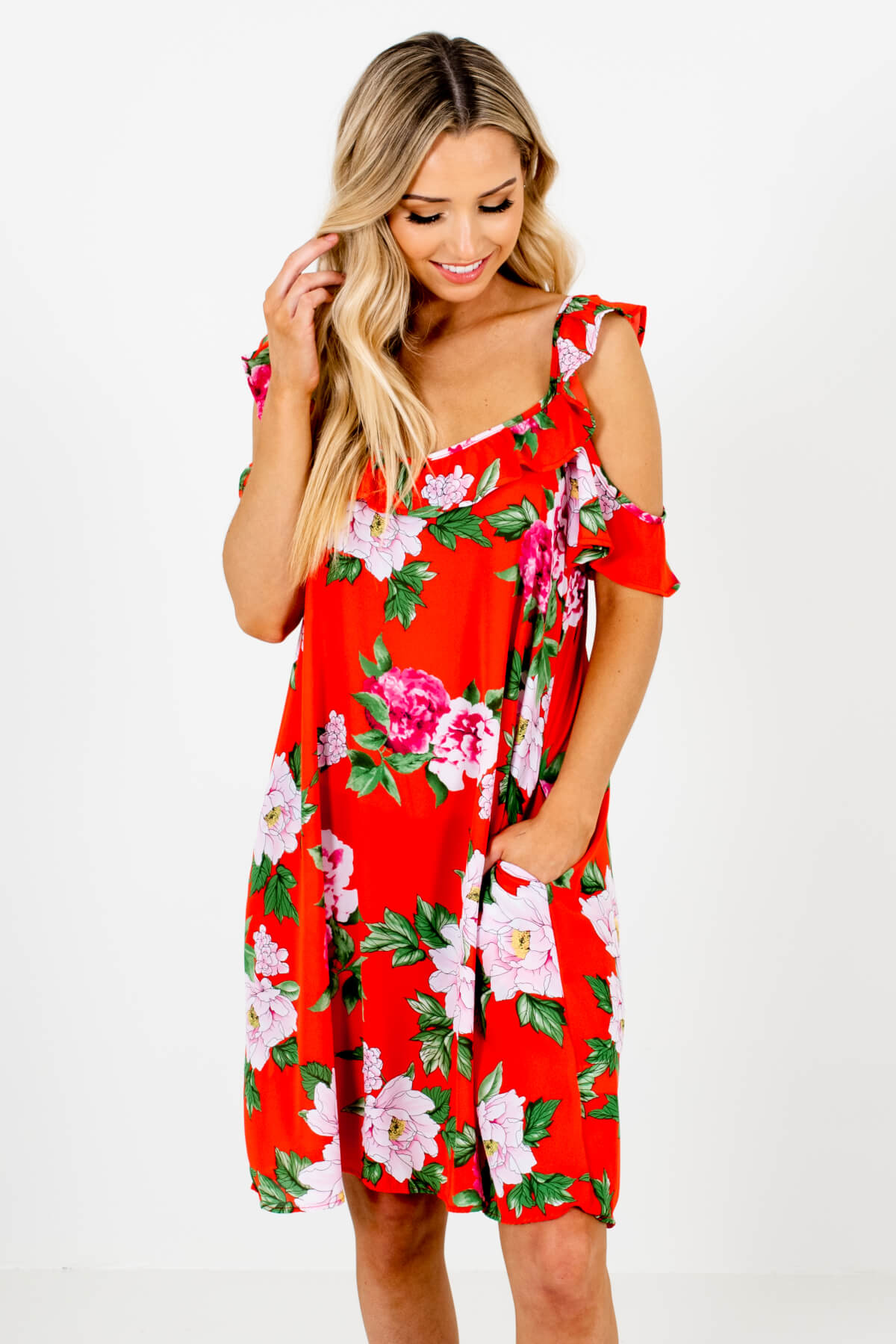 Red Orange Multicolored Floral Patterned Boutique Knee-Length Dresses for Women