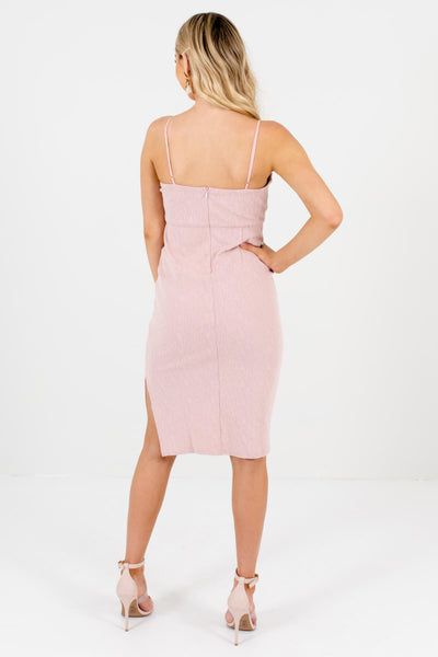 Women's Pink Purple Bodice Cutout Detailed Boutique Knee-Length Dress
