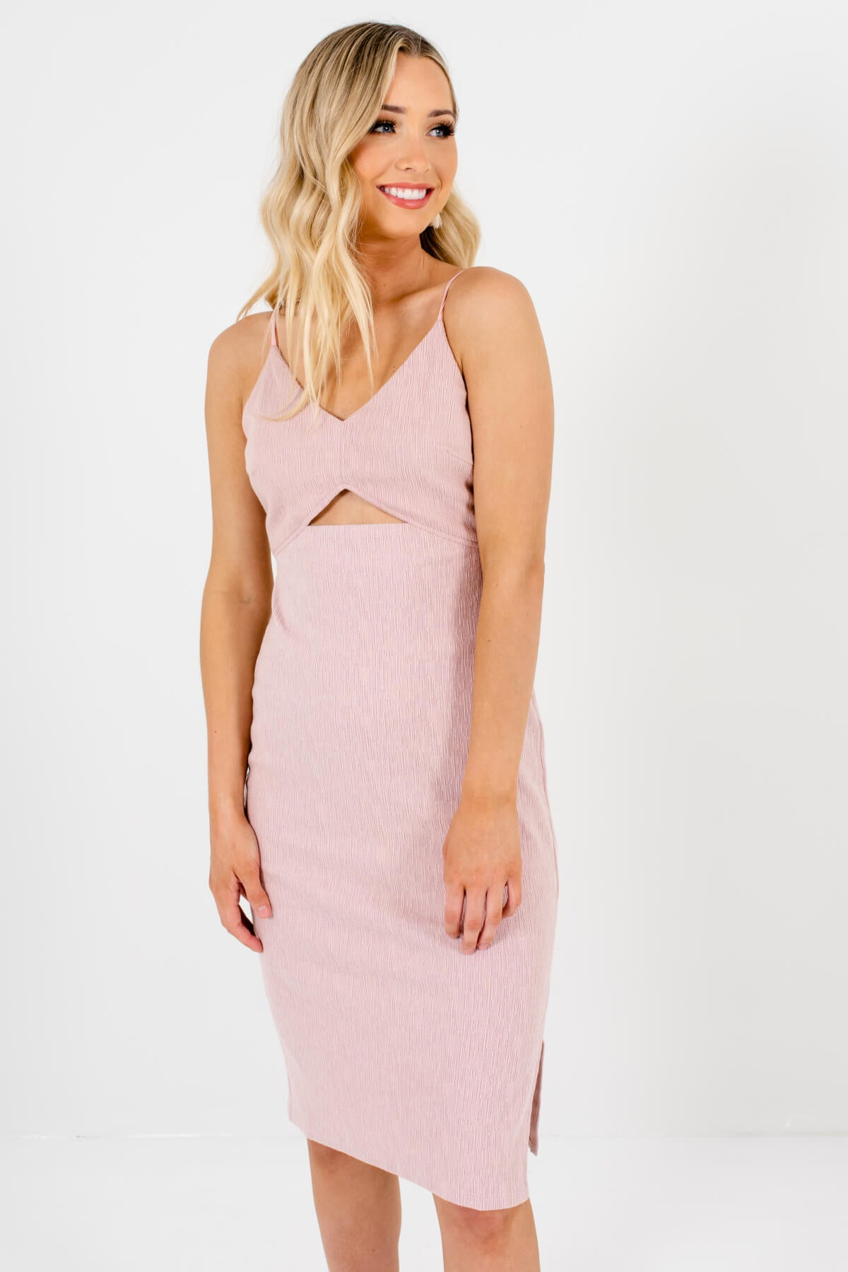 Pink Purple Knee-Length Boutique Night Out Dresses for Women