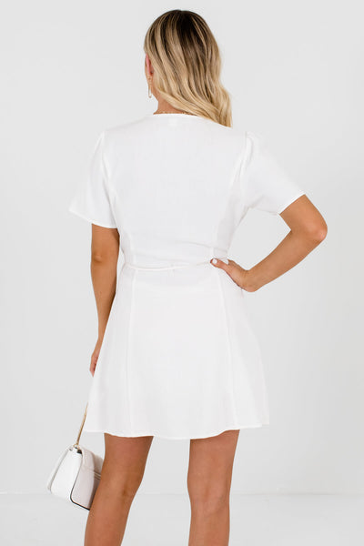 Women's White V-Neckline Boutique Mini Dress