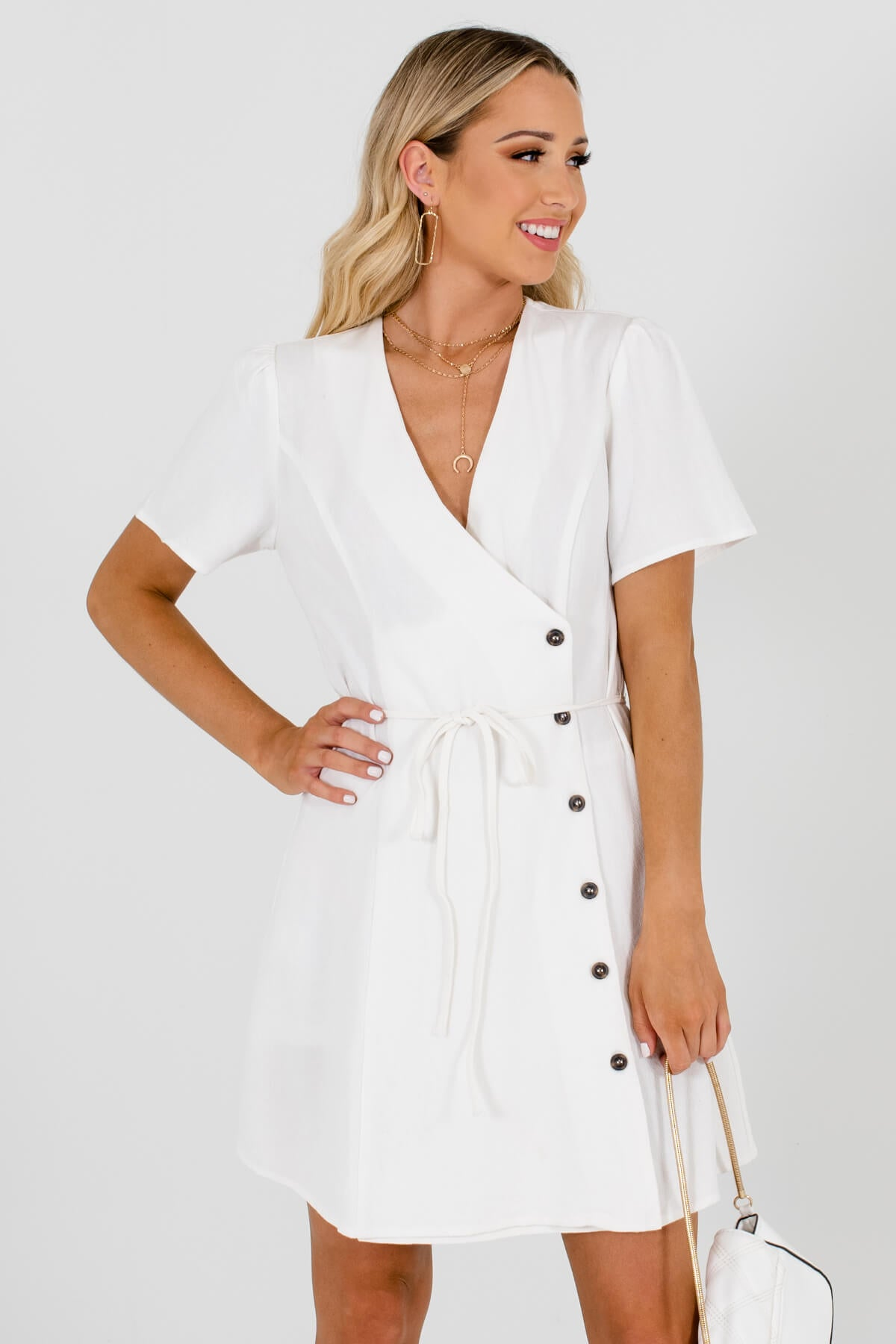 White Asymmetrical Hem Boutique Mini Dresses for Women
