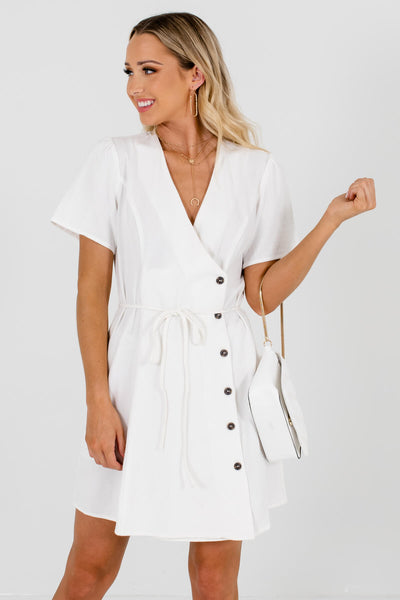Women's White Waist Tie Detail Boutique Mini Dress
