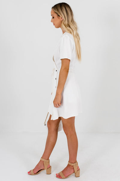 White V-Neckline Boutique Mini Dresses for Women