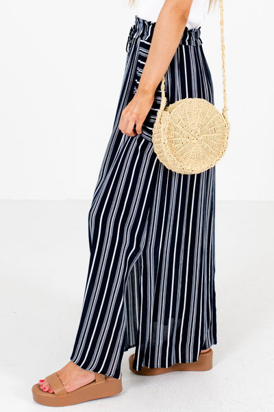 Navy Blue Elastic Waistband Boutique Maxi Skirts for Women