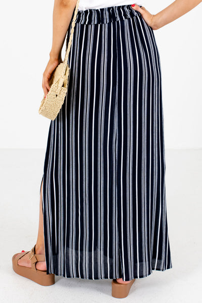 Women's Navy Blue Boutique Maxi Skirt with Pockets