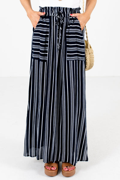 Navy Blue and White Striped Boutique Skirts for Women