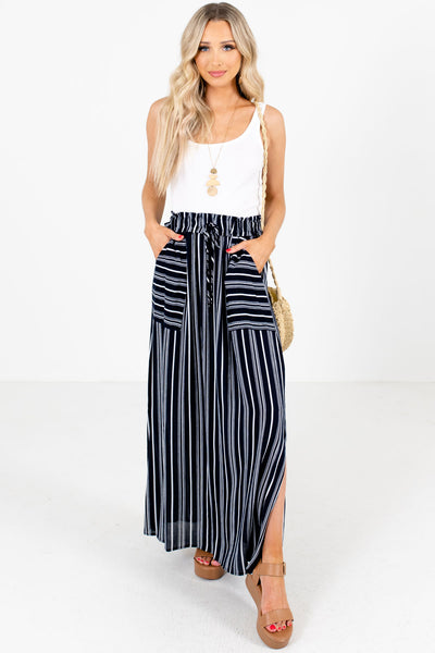 Navy Blue Cute and Comfortable Boutique Maxi Skirts for Women