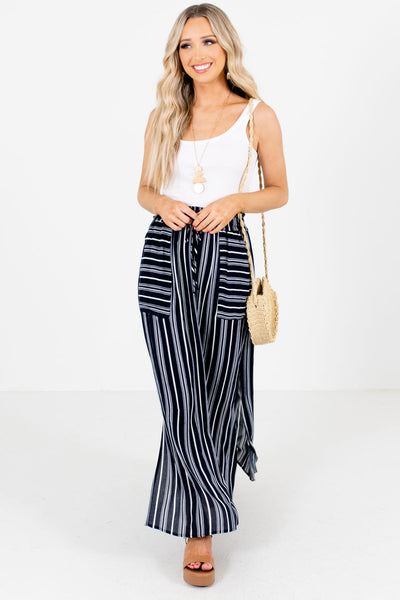 Women's Navy Blue Flowy Silhouette Boutique Maxi Skirt