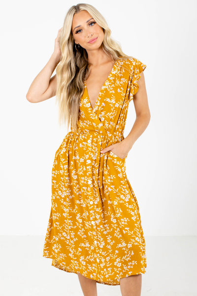 Mustard Yellow Floral Patterned Boutique Midi Dresses for Women
