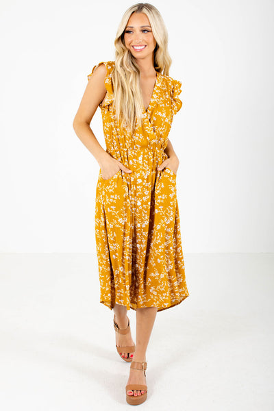 Women's Mustard Yellow Spring and Summertime Boutique Midi Dress