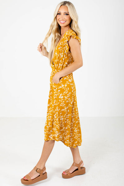 Mustard Yellow Boutique Midi Dresses with Pockets for Women