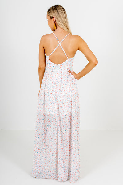 White Pink Floral Criss Cross Maxi Dresses Affordable Online Boutique