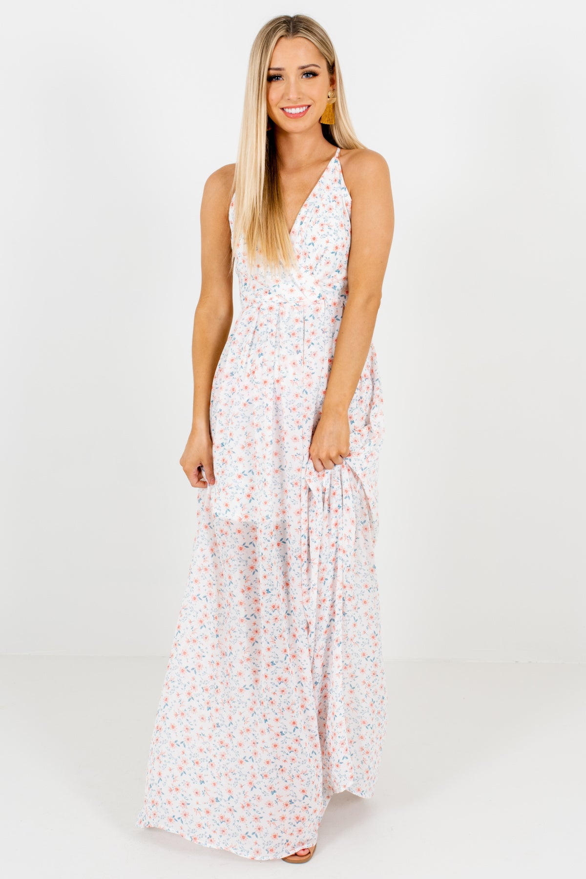 50c509340a White Pink Blue Floral Criss Cross Maxi Dresses Spring Summer