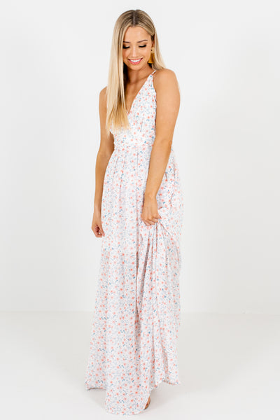 White Pink Affordable Online Boutique Floral Maxi Dresses