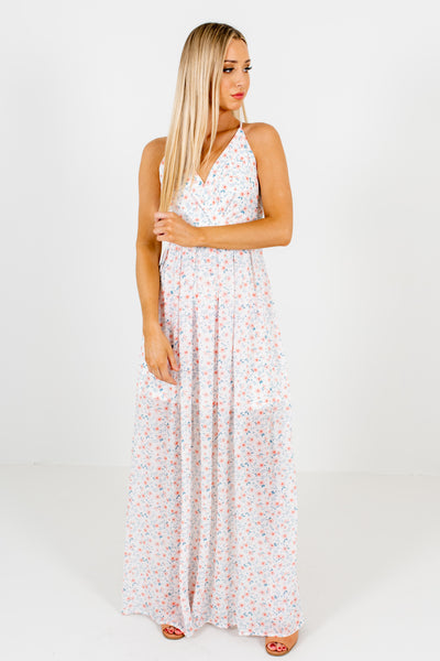 White Pink Blue Floral Print Cute Maxi Dresses for Easter