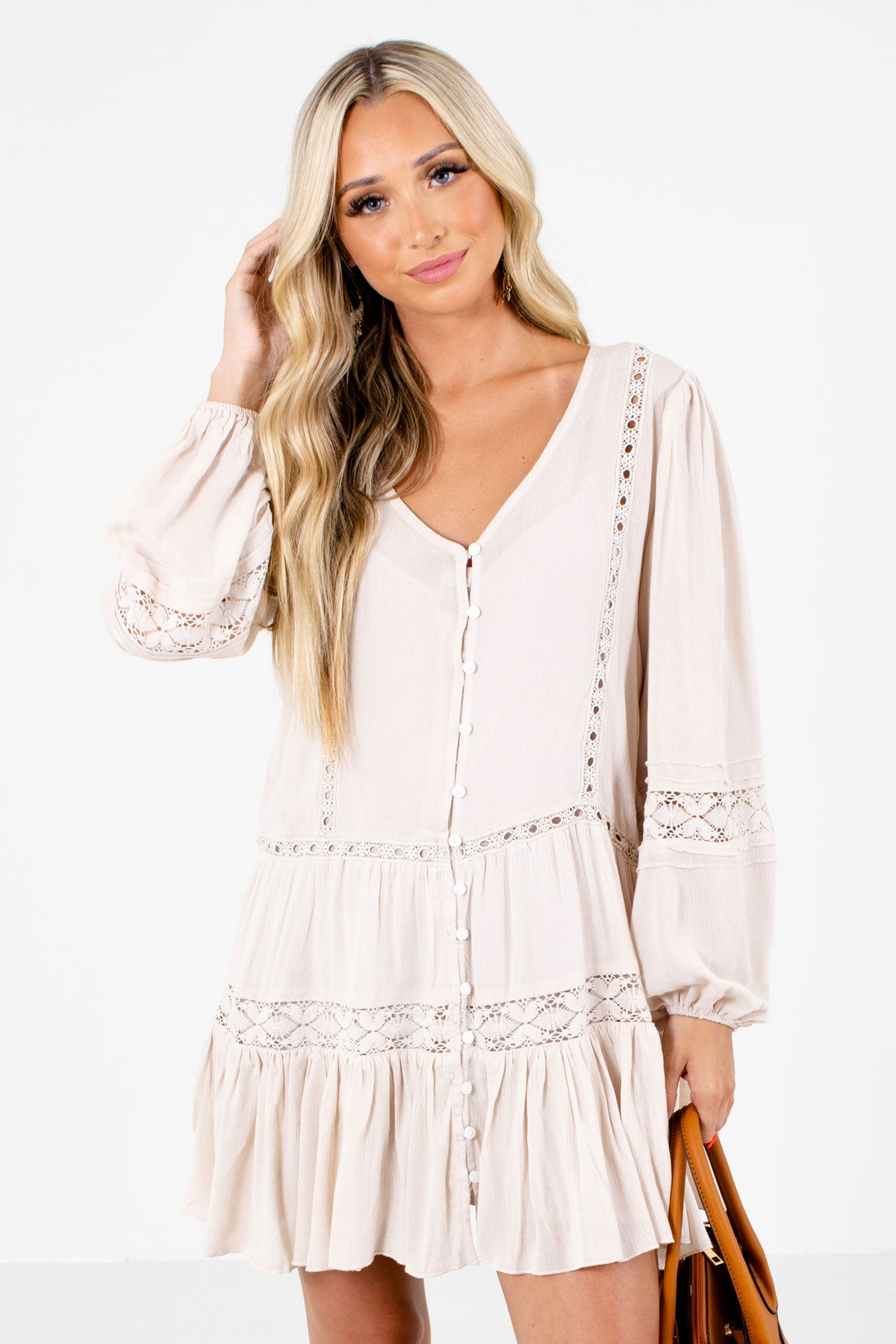 Beige Button-Up Front Boutique Mini Dresses for Women