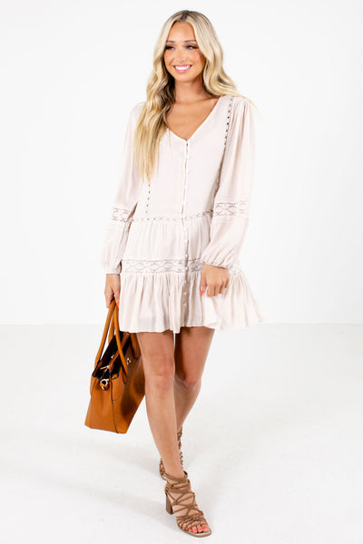 Beige Cute and Comfortable Boutique Mini Dresses for Women
