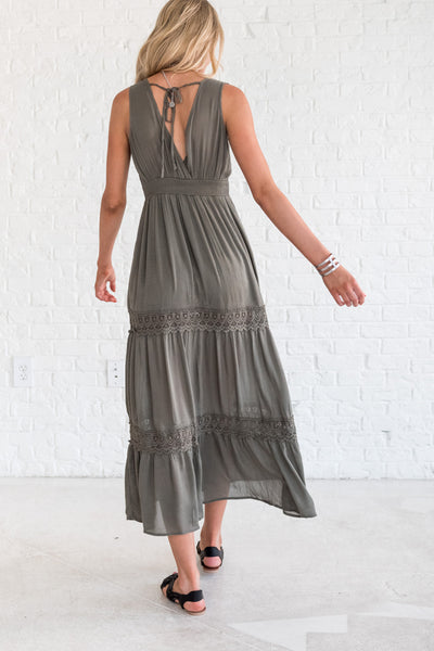 green boutique maxi dress with overlap v-neckline