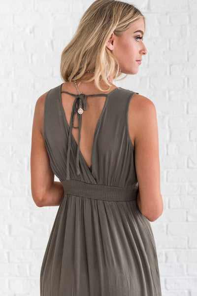 boutique dress with open back