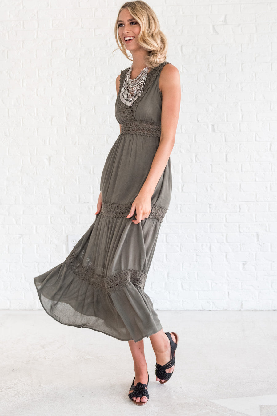 829008fb05b Fairytale Ending Olive Maxi Dress