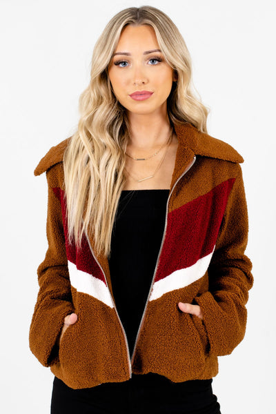 Brown White and Burgundy Color Block Patterned Boutique Jackets for Women
