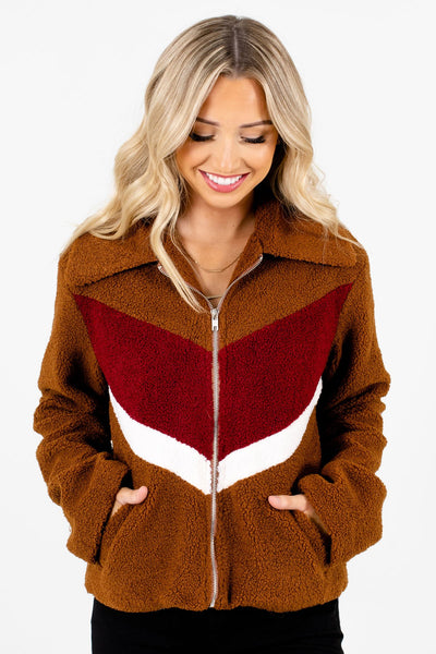 Women's Brown Boutique Jackets with Pockets