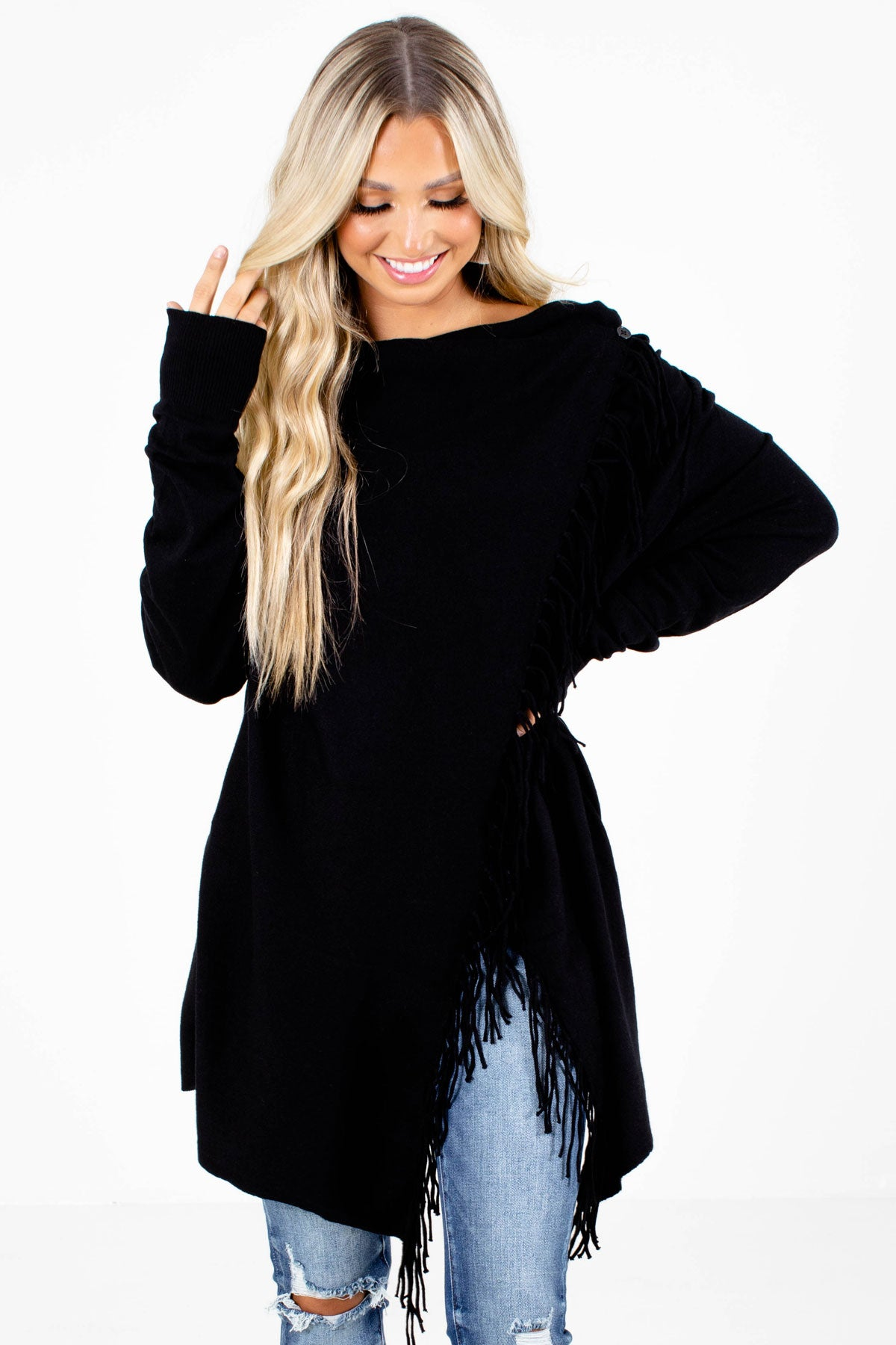 Black Fringe Detailed Boutique Cardigans for Women