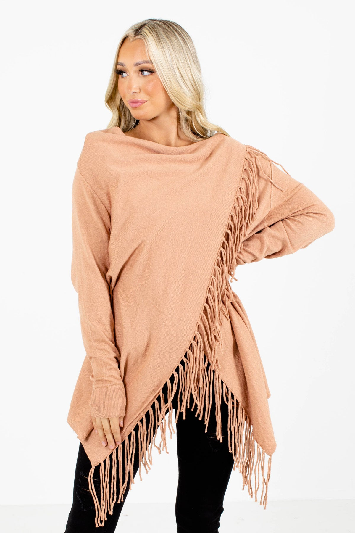 Orange Fringe Detail Boutique Cardigans for Women