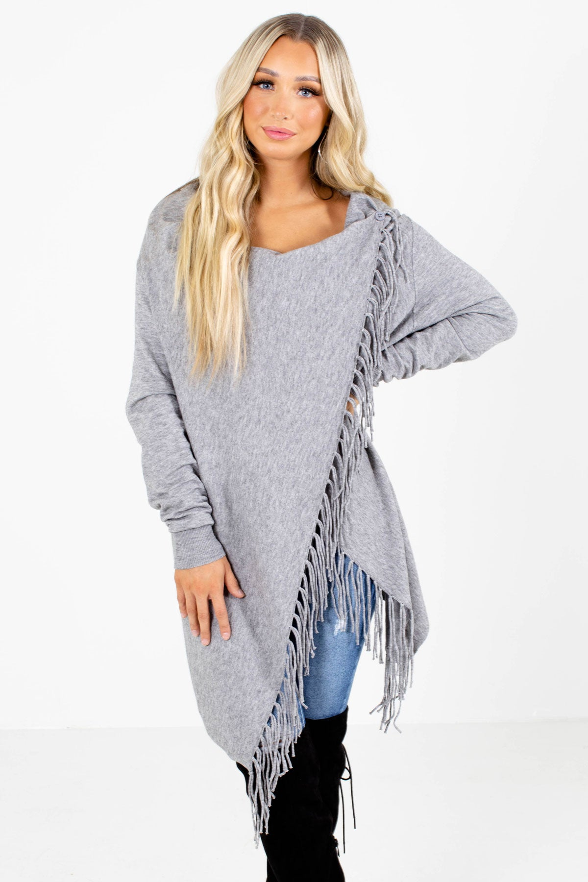 Gray Fringe Detailed Boutique Cardigans for Women