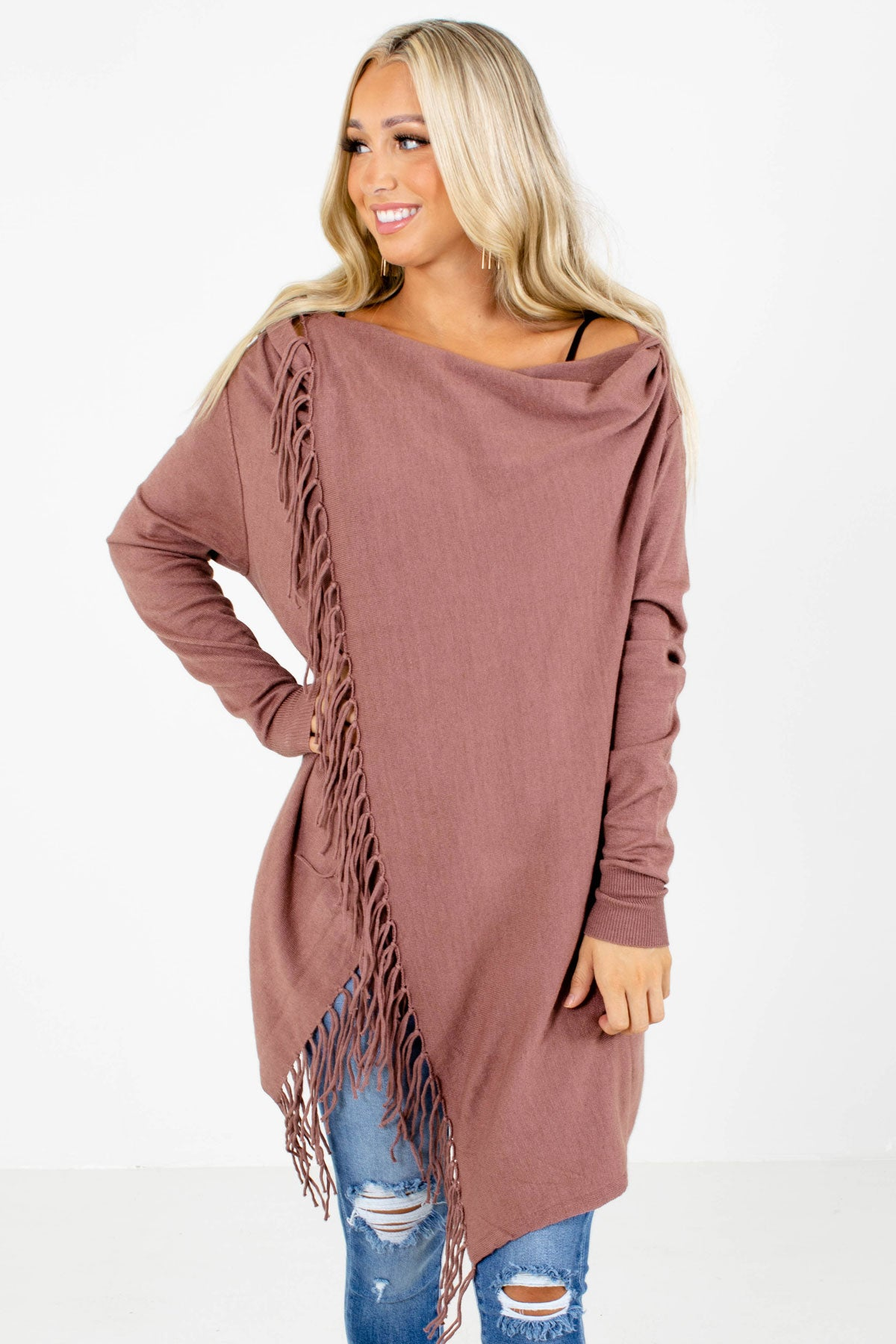 Mauve Fringe Accented Boutique Cardigans for Women