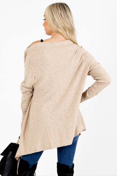 Women's Taupe Brown Asymmetrical Hem Boutique Cardigans