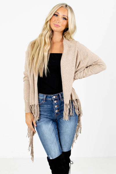 Women's Taupe Brown Knit Material Boutique Cardigans