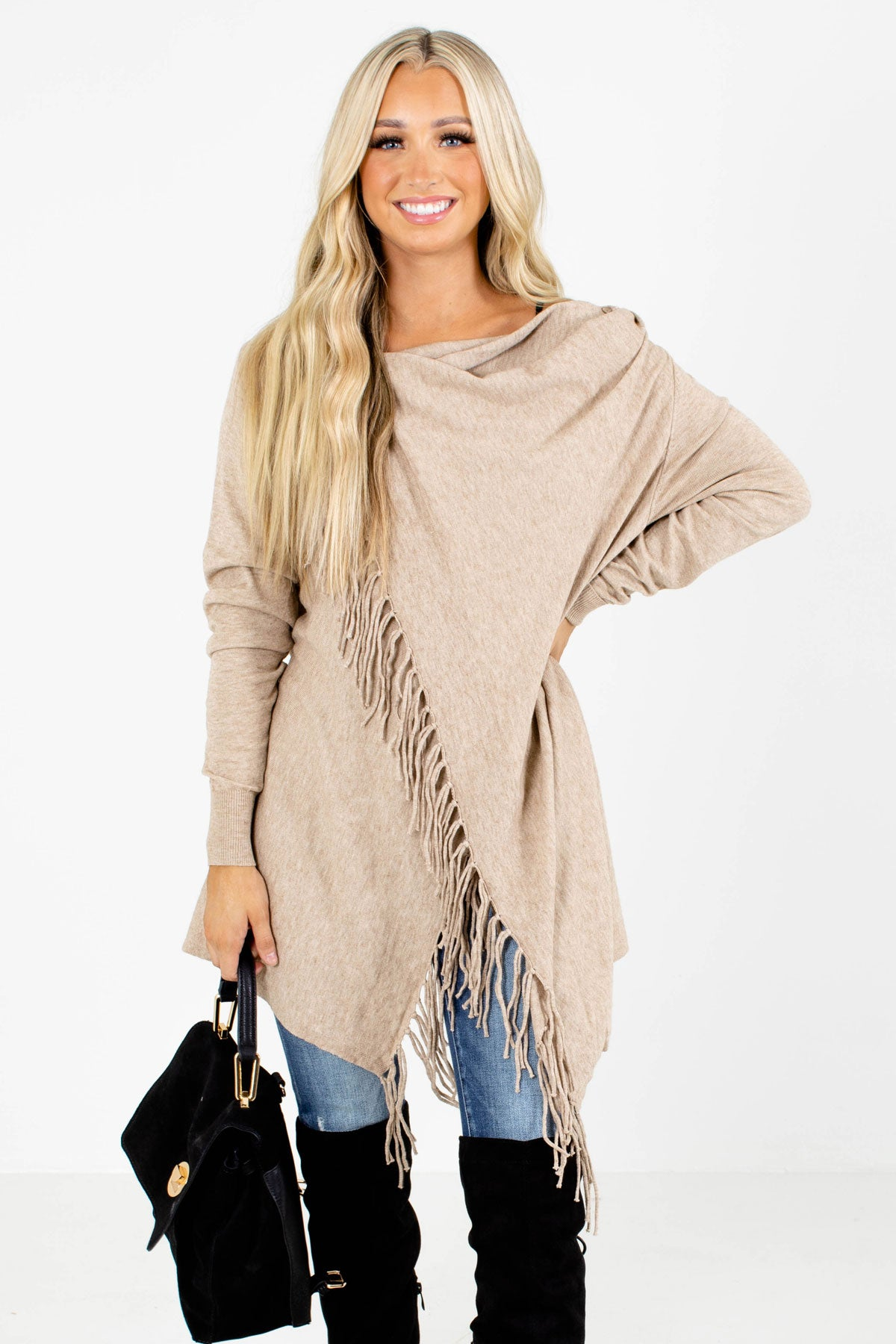 Taupe Brown Fringe Accented Boutique Cardigans for Women