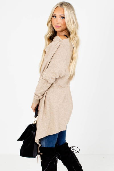 Taupe Brown Soft and Stretchy Boutique Cardigans for Women