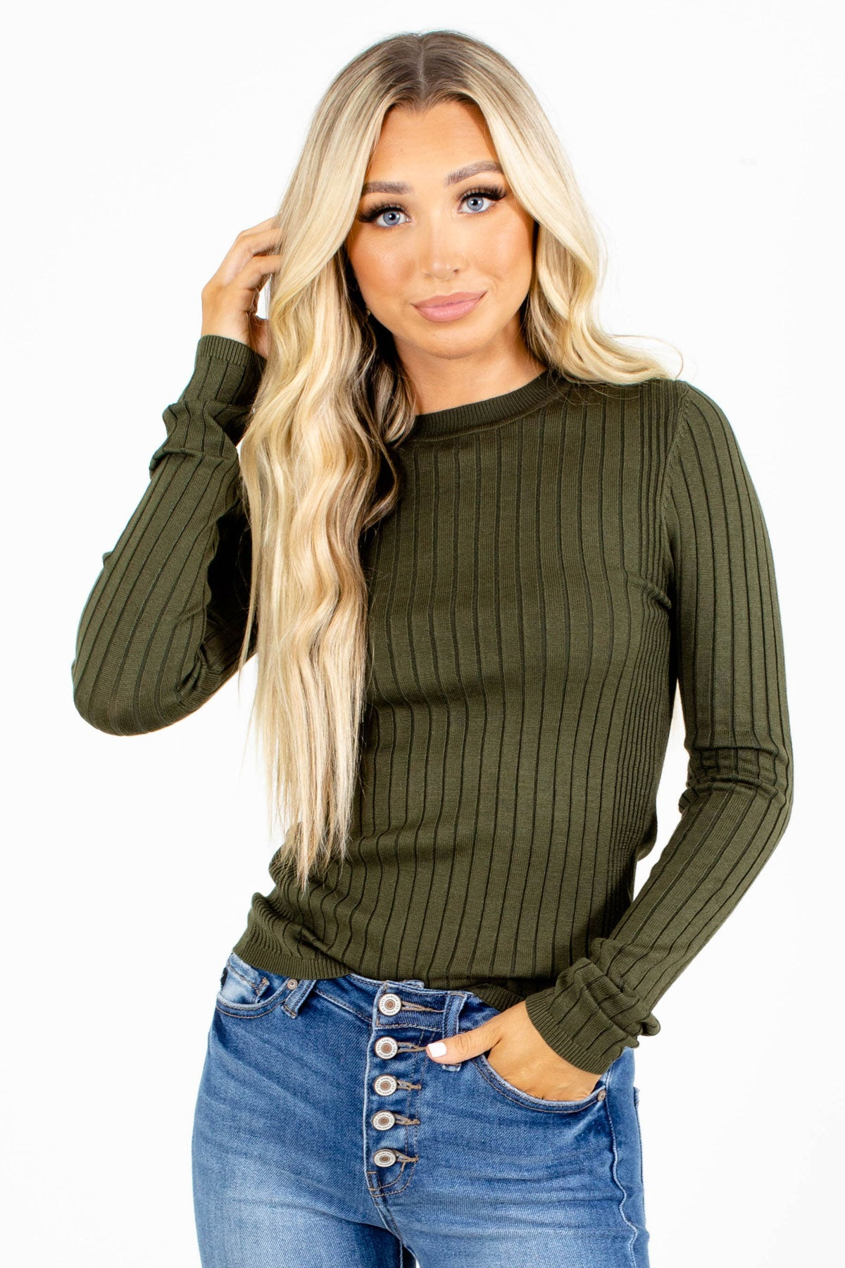 Ribbed Olive Green Boutique Tops for Women