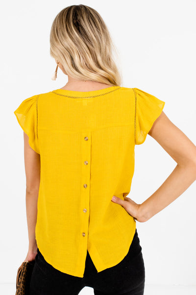 Women's Mustard Yellow Pleated Sleeve Boutique Blouse
