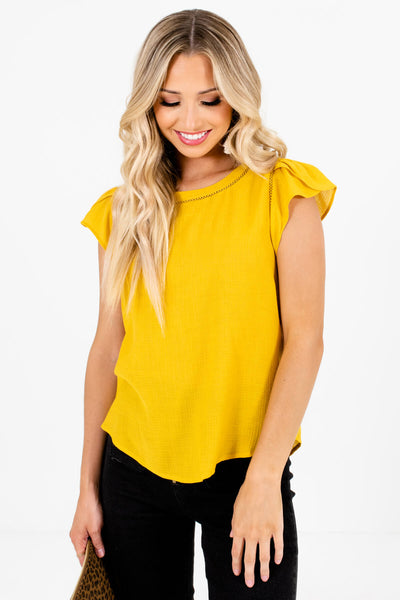 Mustard Yellow Button-Up Back Boutique Blouses for Women