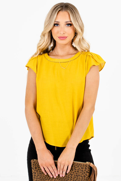 Mustard Yellow Flowy Silhouette Boutique Blouses for Women